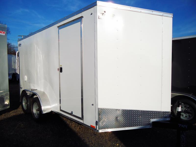 "2019 Pace American 7X14 OBDLX TE2 6""X SVNTS WHITE Enclosed Cargo Trailer"