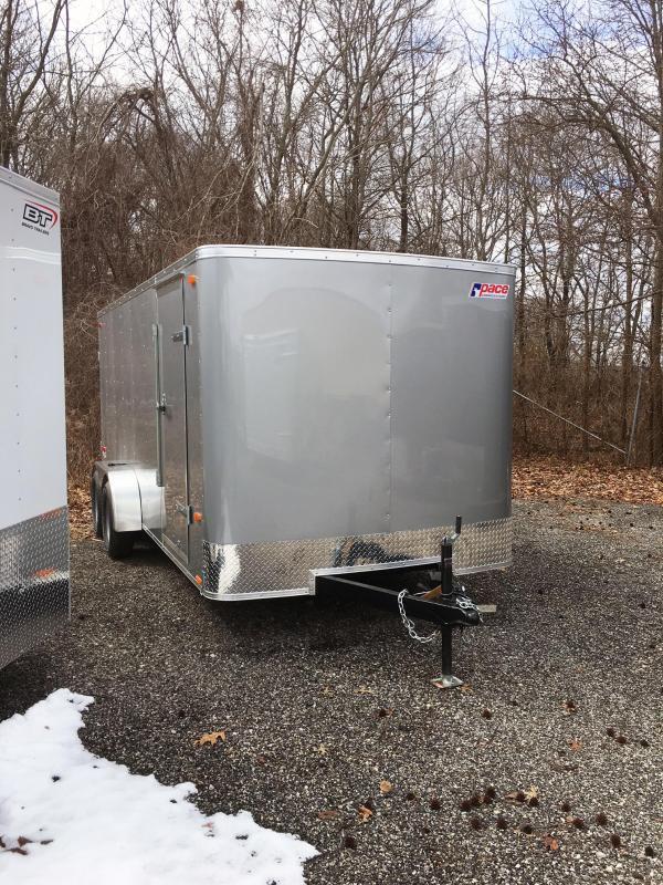 2018 Pace American 7X16 OB TE2 RAMP SILVER Enclosed Cargo Trailer