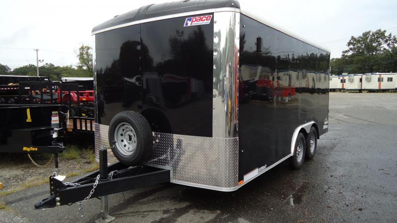 """2020 Pace American 8.5X16 CLS TE2 18""""EXT RAMP BLACK Enclosed Cargo Trailer"""