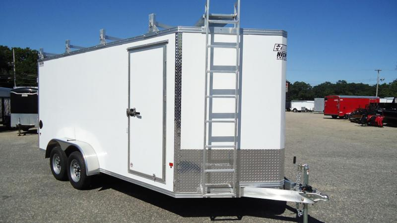 2019 E-Z Hauler 7X16 EZEC UCP ULTIMATE CONTRACTOR PACKAGE V SD LDRRCK CATWK WHITE Enclosed Cargo Trailer