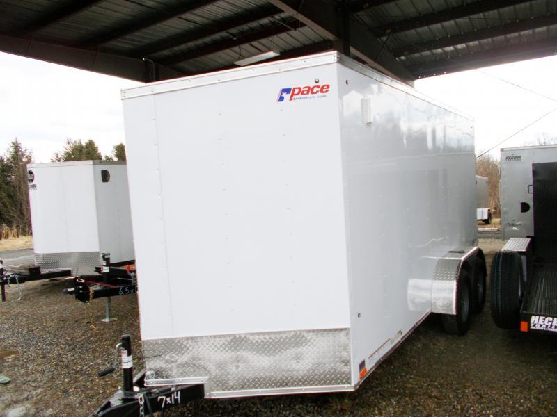 """2019 Pace American 7X14 OBDLX TE2 30""""VS 6""""X RAMP SVNTS WHITE Enclosed Cargo Trailer"""