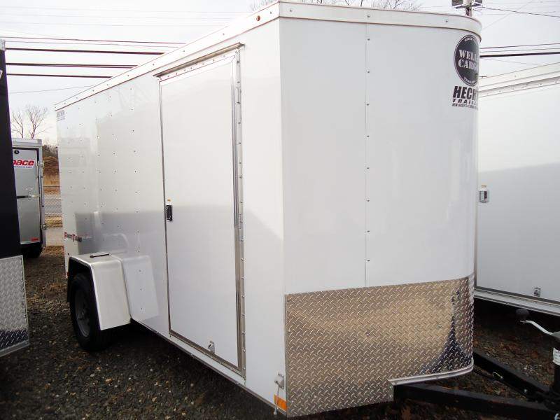 2019 Wells Cargo 5X8 FT 1 RAMP WHITE Enclosed Cargo Trailer