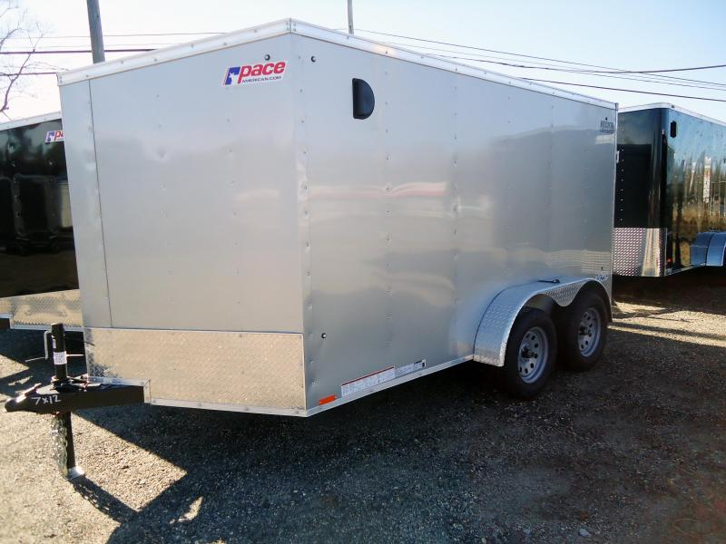"2019 Pace American 7X12 OBDLX TE2 30""VS RAMP SVNTS SILVER Enclosed Cargo Trailer"