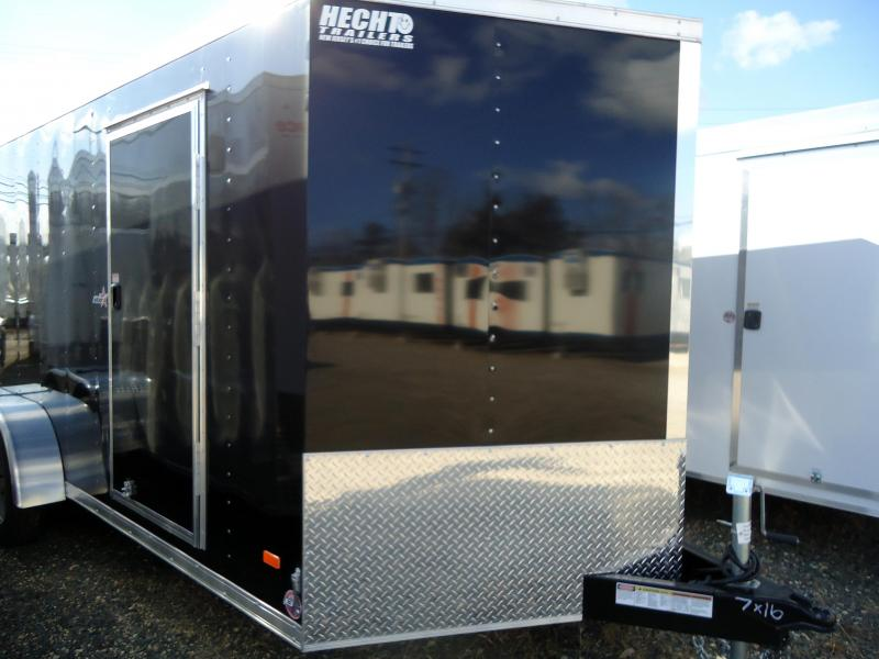 2019 Bravo Trailers 7X16 ST TA2 VNOSE RAMP D RINGS APT BLACK Enclosed Cargo Trailer
