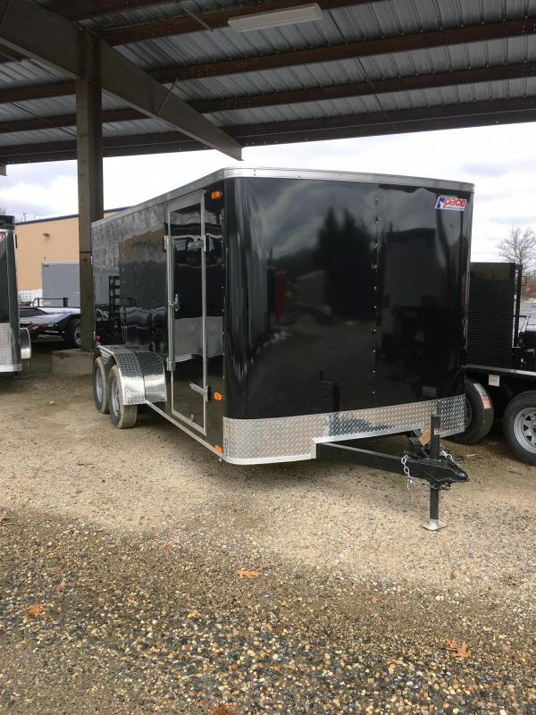 2018 Pace American 7X16 OB TE2 RAMP DOME LIGHT BLACK Enclosed Cargo Trailer