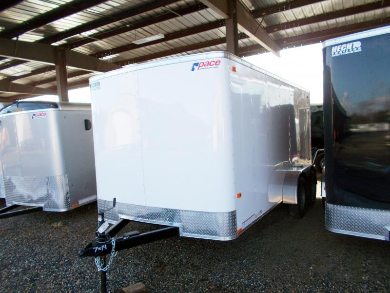 2019 Pace American 7X14 OB TE2 RAMP WHITE Enclosed Cargo Trailer