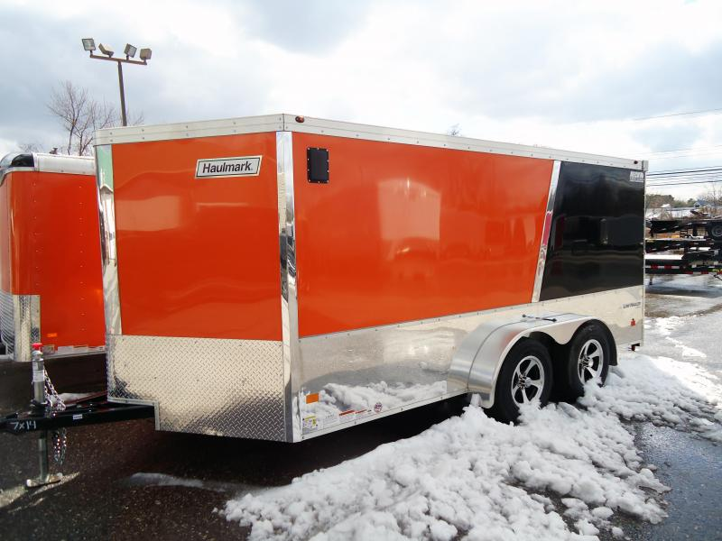 "2018 Haulmark 7X14 VNLH WT2 V 6""X CLOSET CABINET ORANGE & POL ALUM Motorcycle Trailer"