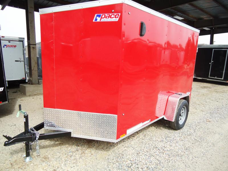 2019 Pace American 6X10 OBDLX SI2 24VS RAMP SVNTS RED Enclosed Cargo Trailer