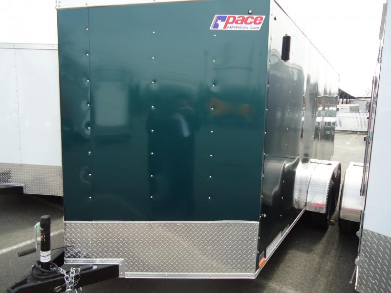2019 Pace American 7X14 OBDLX 30VS RAMP SVNTS GREEN Enclosed Cargo Trailer