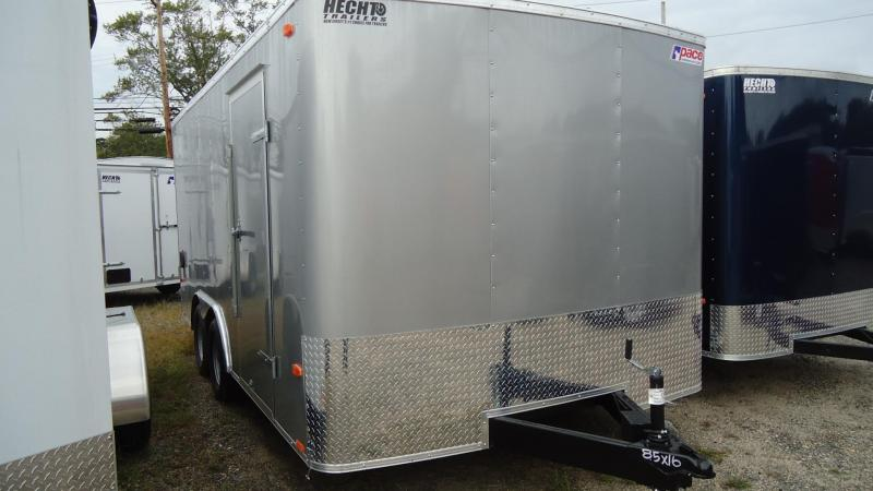 2020 Pace American 8.5X16 OB TE2 RAMP SVNT SILVER Enclosed Cargo Trailer