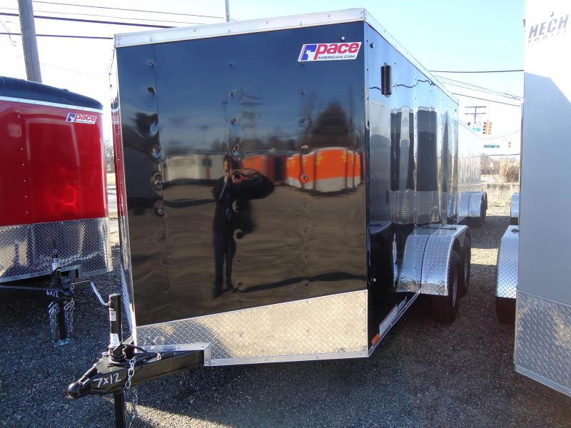 "2019 Pace American 7X12 OBDLX TE2 30""SV RAMP SVNTS BLACK Enclosed Cargo Trailer"