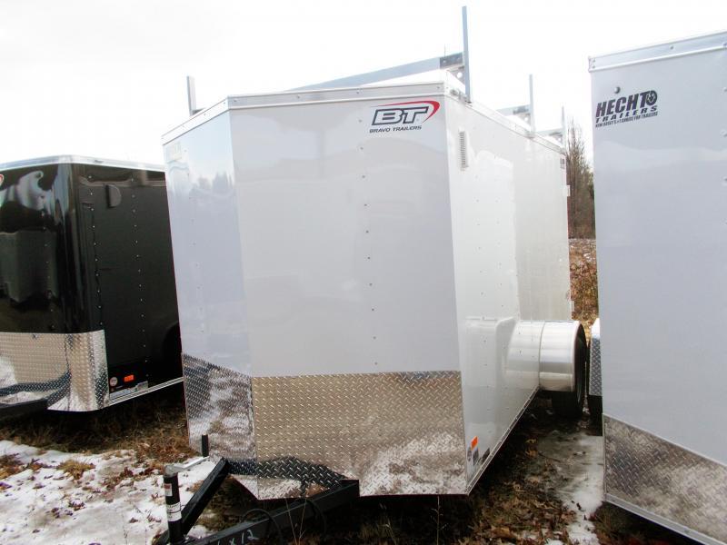 2019 Bravo Trailers 6X12 SC SA DD VNOSE LDR RACK WHITE Enclosed Cargo Trailer