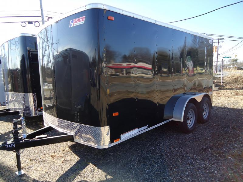 2019 Pace American 7X14 OB TE2 RAMP BLACK Enclosed Cargo Trailer