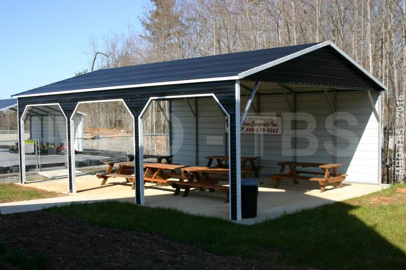 24X30X9 VERTICAL Boxed Eave Roof Carport #CP026
