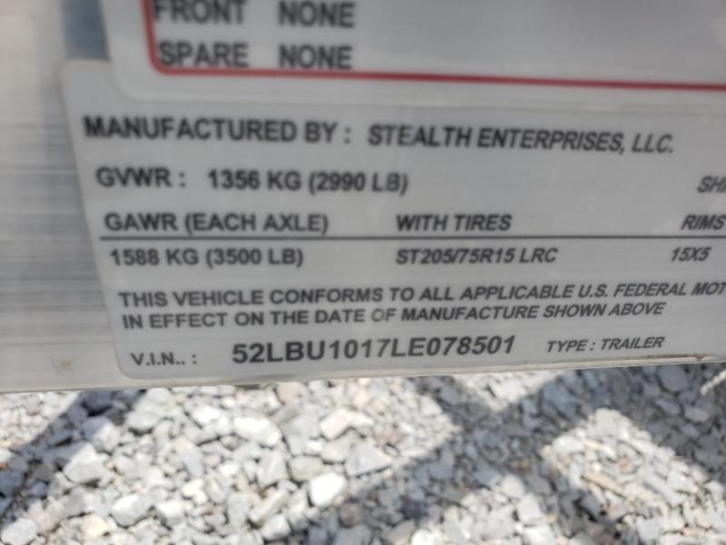 2020 Stealth Trailers 6.5x10 Phantom II Utility Trailer