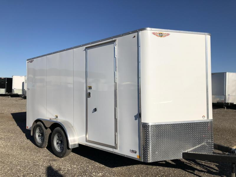 2019 H&H Trailers 7x16 Cargo White Flat Top V-Nose Tandem Axle