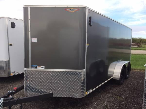 2019 H&H Trailers 7x14 Cargo Charcoal Metallic Flat Top V-Nose Tandem Axle