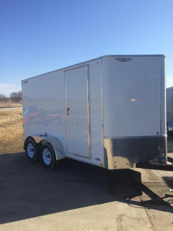 2019 H&H Trailers 6x12 Cargo White Flat Top V-Nose Tandem Axle
