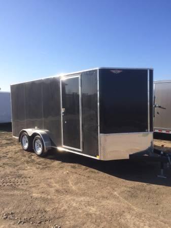 2019 H&H Trailers 7x16 Cargo Black Flat Top V-Nose Tandem Axle in Ashburn, VA