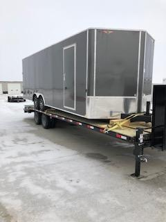 "2019 H&H Trailers 101""x24' Charcoal Enclosed Car Hauler V-Nose Tandem Axle"