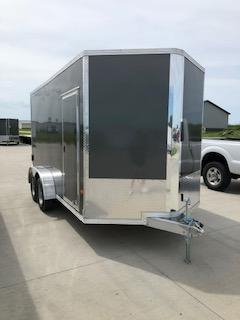 2019 CargoPro Trailers 7X14 Charcoal Flat Top V-nose 3.5k Tandem Axle Enclosed Cargo Trailer in Ashburn, VA
