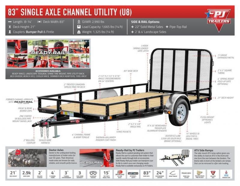 2020 PJ 14' x 83 in. Single Axle Channel Utility