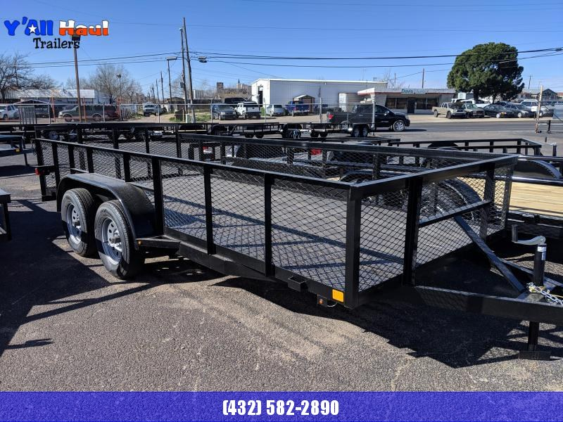 """C&M 76 x 16 Utility Trailer 2' Dovetail 32"""" Gate 2' Expanded Metal Sides"""