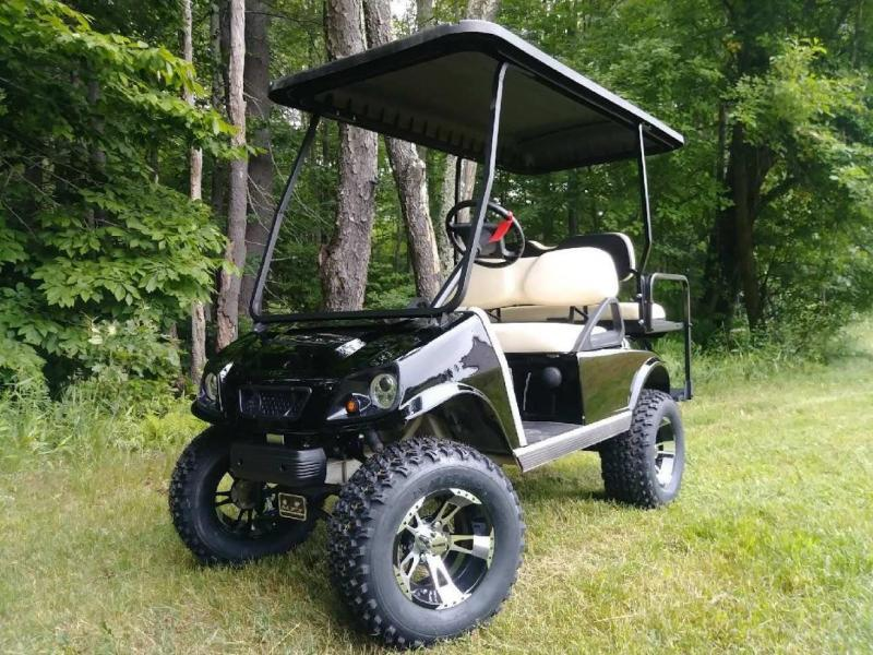 Gas Club Car Spartan Metallic Black 4 Pass Car W Lift Kit Long Top