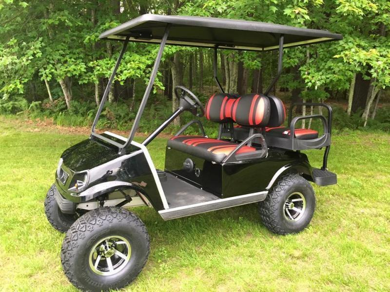 GAS Club Car DS CUSTOM Metallic BLACK-RED Spartan 4 PASS W/LIFT KIT