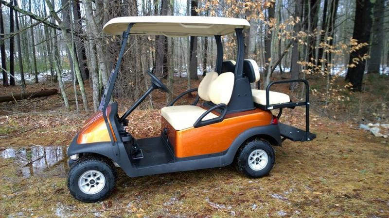Atomic Orange Metallic Club Car Electric 4 Pass Golf Cart