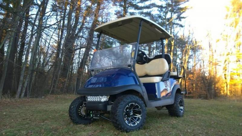 CUSTOM Precedent Metallic Sapphire Blue Lifted 4 pass electric golf cart