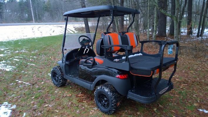 Tsunami Black-Orange Precedent 4 pass Elec Golf Cart with lift kit