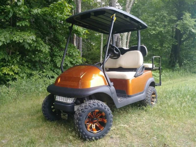 Metallic Atomic Orange Club Car Precedent 4 pass elec golf cart w/warranty