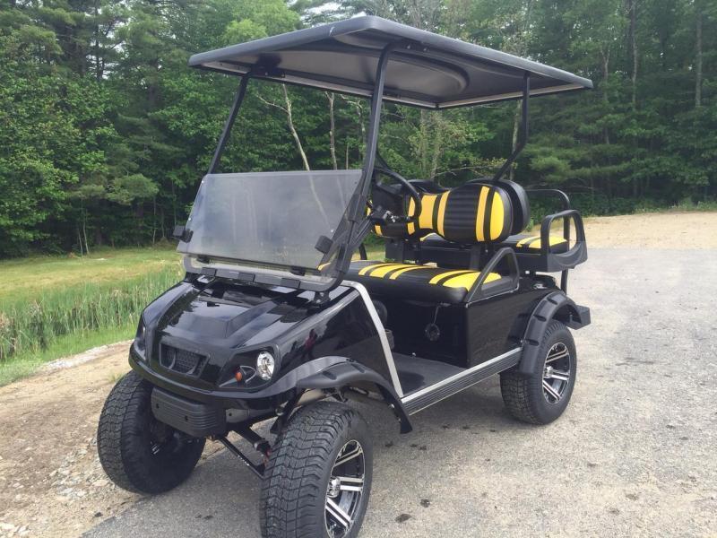 Custom Club Car DS Spartan Metallic Black GAS 4 pass golf cart LIFTED