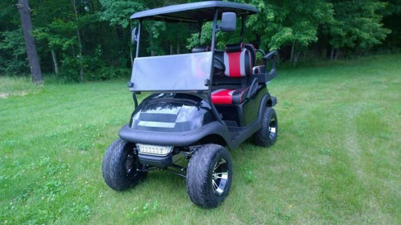 Custom Club Car Precedent Black-Silver-Red 4 pass  GOLF CART