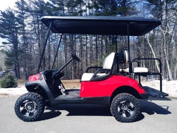 Yamaha Drive GAS 4 pass CUSTOM golf car LIFTED RED HAVOC body-NICE!!