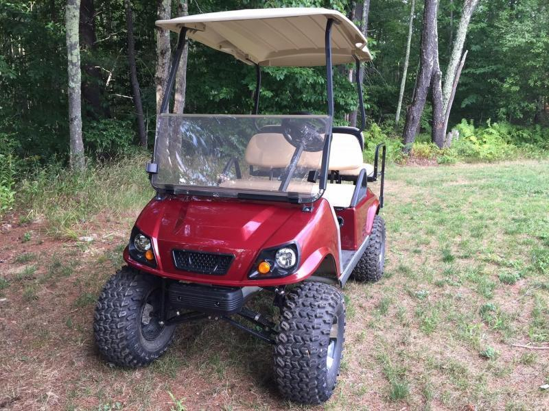 GAS POWERED Club Car Spartan-Metallic Burgundy 4 pass golf w/LIFT KIT