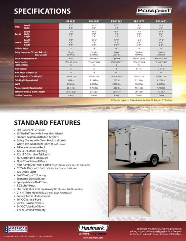 2019 Haulmark PASSPORT PP714T2 Enclosed Cargo Trailer
