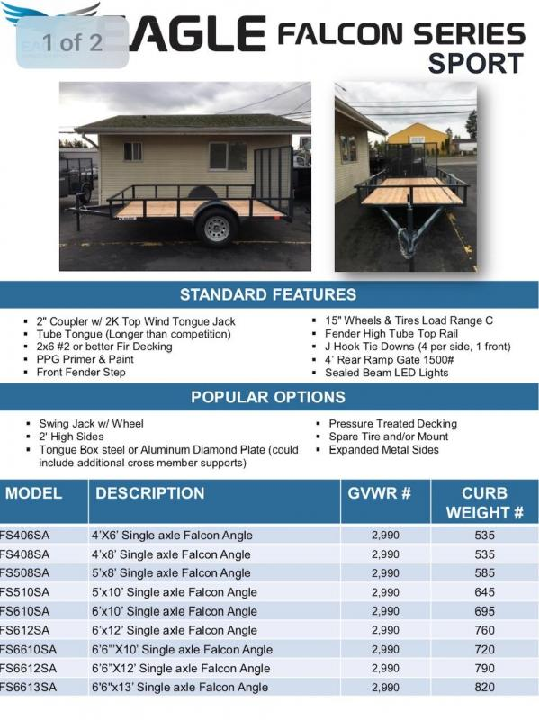 2019 Eagle Trailer Falcon FS612SA Utility Trailer