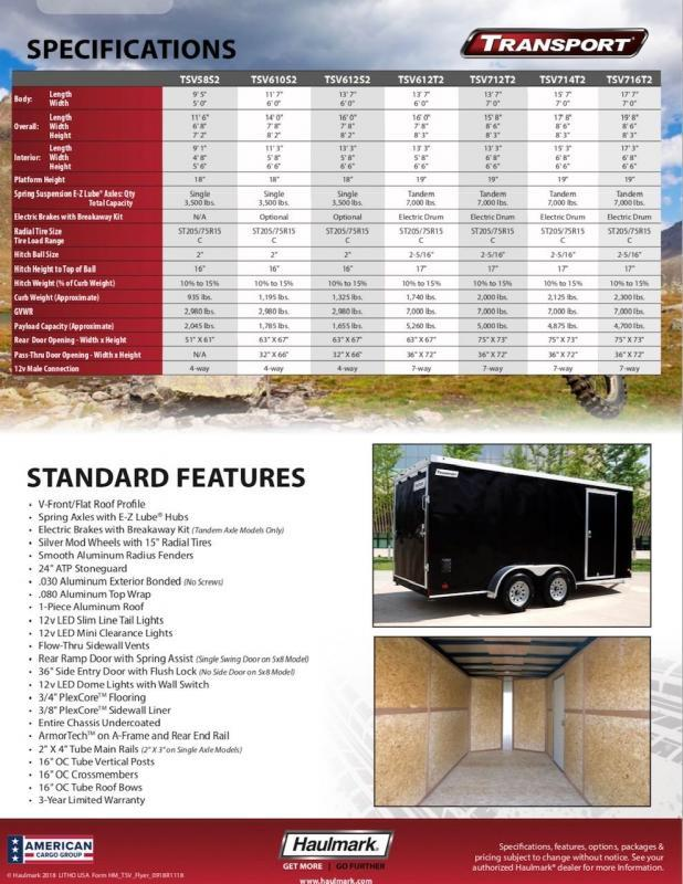 2019 Haulmark TRANSPORT TSV610S2 Enclosed Cargo Trailer
