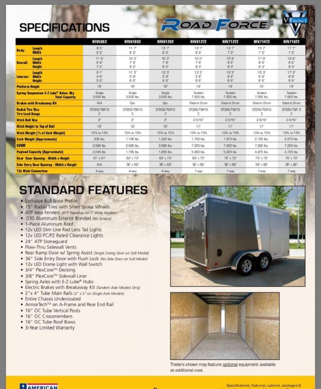 2019 Wells Cargo Road Force RFV610S2 Enclosed Cargo Trailer