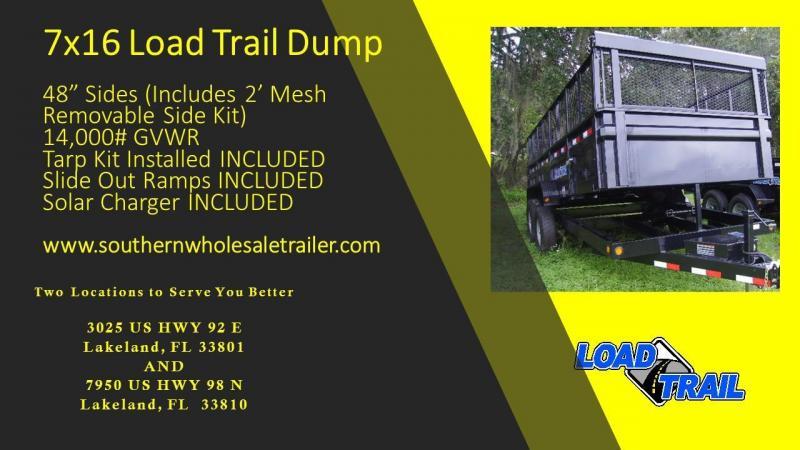 7x16 Load Trail Trailers Dump Trailer W/SOLAR CHARGER AND TARP KIT