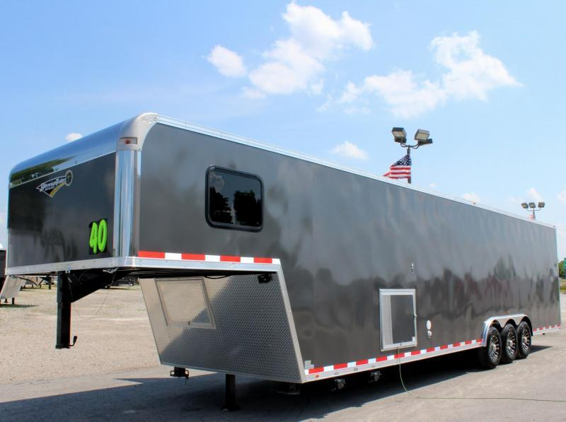 <b>SOLD Making More!</b> 2019 40' Millennium Silver Gooseneck Enclosed Race Car Trailer w/Partial Living Quarters in Ashburn, VA