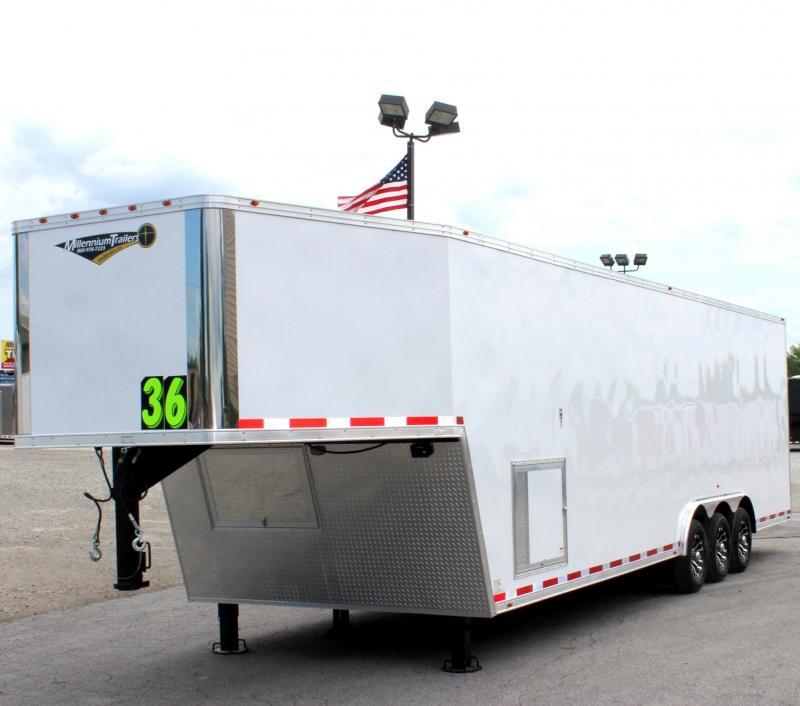 2019 36' Millennium Silver Gooseneck w/Aluminum Wheels Hydraulic Jack Screwless Finished Interior Tapered Nose in Ashburn, VA