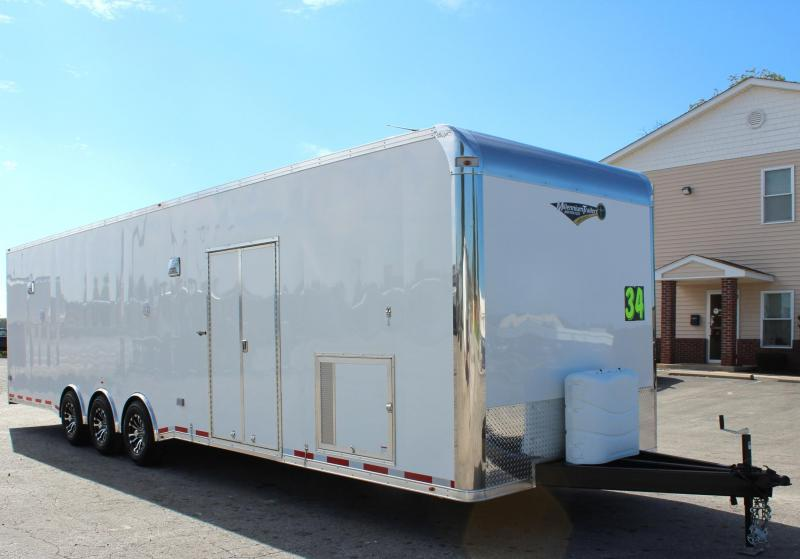 2019 34' Millennium Platinum Enclosed Race Car Trailer w/Full Bathroom