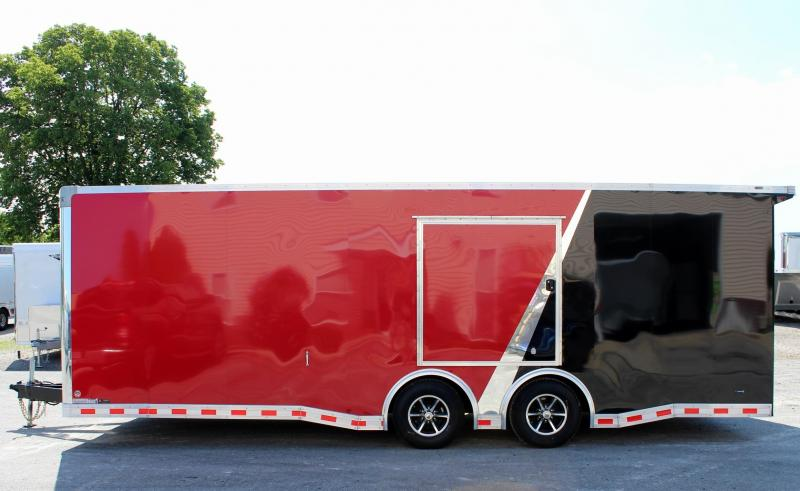 <b>Weekly Specials</b> 2019 Red/Black 24' Millennium Extreme Race Car Enclosed Trailer w/Rear Wing & FREE Escape Door