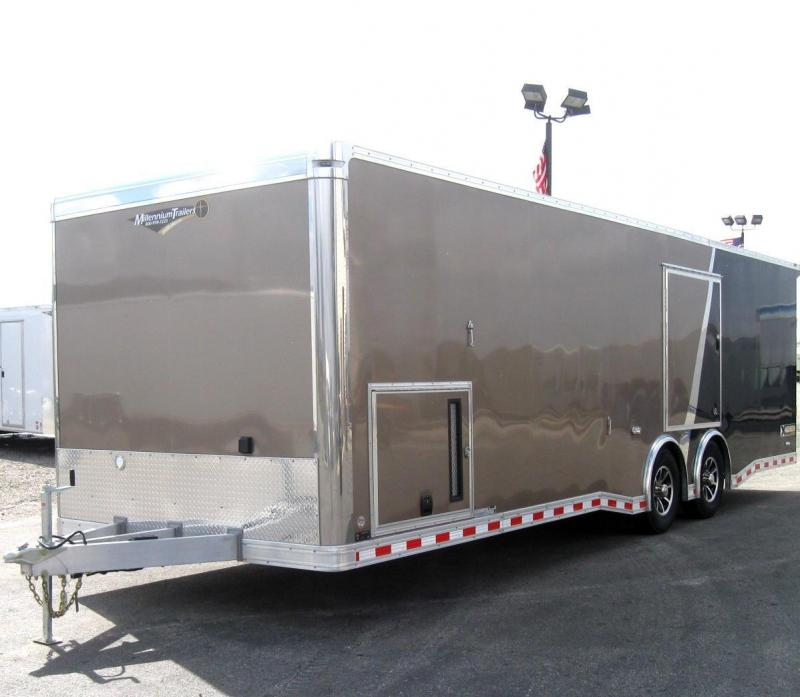 2018 ALUMINUM 28' Millennium Extreme Enclosed Race Car Trailer 2-Tone Bronze/Black w/Wing