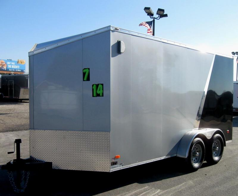 "7'x14' Scout Enclosed Cargo Trailer w/Plus Pkg. & Slant Nose/6"" Ext/16"" OC Floor"