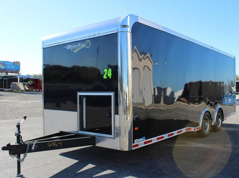 <b>13.5 A/C Added</b> 2019 24' Millennium Thunderbolt Enclosed Trailer Red Cabinets & Cove