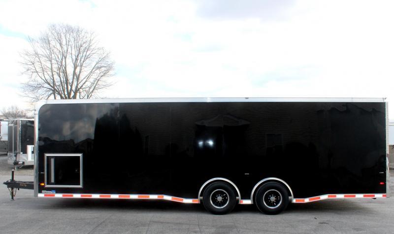 <b>NOW READY</b> 2019 28' Millennium Thunderbolt Enclosed Race Car Trailer Black Cabinets/Alum Wheels/Spread 6K Axles
